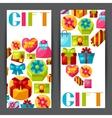 Celebration banners or flayers with colorful gift vector image vector image