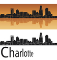 Charlotte skyline in orange background vector image vector image