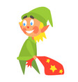 christmas elf carrying present bag flat vector image vector image