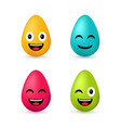 colorful easter eggs emoji set vector image vector image