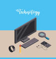 computer with smarphone and smartwatch technology vector image vector image