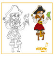 Cute cartoon girl in pirate costume with parrot