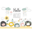 cute lions with flowers and clouds hello august vector image