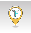 Degrees Fahrenheit pin map icon Weather vector image vector image