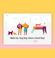 dog and man spend time together landing page vector image vector image