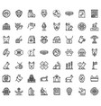 dog handler icons set outline style vector image vector image