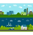 Eco energy flat banners set vector image vector image