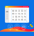 education line icons book video tutorial vector image