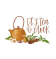 elegant composition with teapot transparent glass vector image vector image