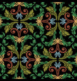 embroidery baroque seamless pattern colorful vector image vector image