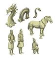 figures samurai horse and serpent big set vector image vector image