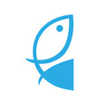 fish symbol icon on white vector image vector image