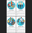four teamwork and office work colorful posters vector image vector image