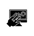 gesture recognition system black icon sign vector image
