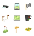 GPS and navigation icons set cartoon style vector image