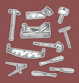 hand drawn carpentry elements stickers set vector image