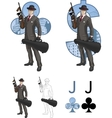 Jack of clubs mafioso with Tommy-gun Mafia card vector image vector image