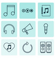multimedia icons set with mike favorite tune vector image vector image