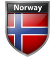 norway flag on badge design vector image vector image