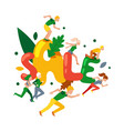 people character tiny running autumn big sale vector image