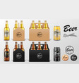 realistic set glass beer bottle and tin can in vector image