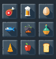 Relief food game icon set vector image