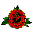 rose in tattoo style design element for poster vector image vector image