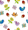Seamless pattern with birds and butterflies vector image vector image