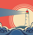 Seascape with lighthouse vector image