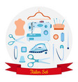 set of objects for sewing handicraft and taylor vector image vector image