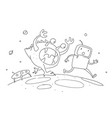 sketch robot male character an astronaut escapes vector image