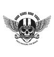 skull in motorcycle helmet with wings design vector image vector image