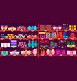 store shelves with kitchen supplies and crockery vector image vector image