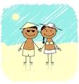 Summer holidays Happy couple on the beach vector image