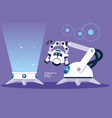 technology robot cartoon over purple background vector image vector image