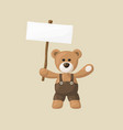 teddy bear with white signboard vector image vector image