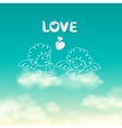 Two angels on a cloud love word and heart sunny vector image vector image