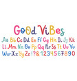 uppercase and lowcase cute alphabet font vector image