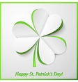White and green paper cutout clover vector image vector image