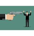 Hand with a handgun robs a businessman vector image