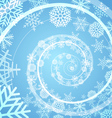 Winter snow storm spiral background vector image