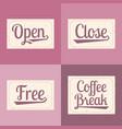 open close free coffee break alphabet vector image
