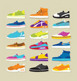 sneaker sport shoes set vector image
