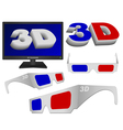 3d sign glasses and tv vector image