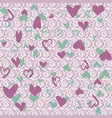 background with green and lilac hearts vector image vector image