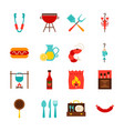 bbq party objects vector image vector image