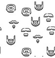 beard and mustache seamless pattern vector image vector image