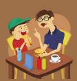 boy lunch with dad vector image vector image