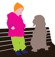 child with dog vector image