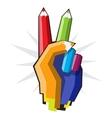 Color pencil hand vector image vector image